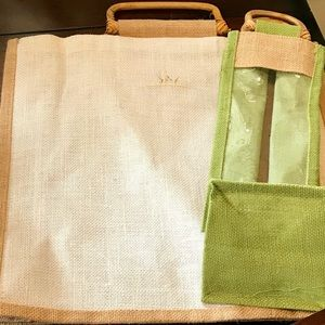 Handbags - Straw Beach bag & wine bag set